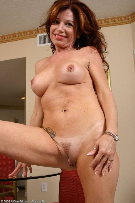 Tight bodied mature Jacqueline strips and spreads at AllOver30