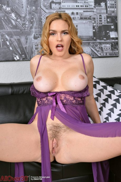 Beautiful busty Krissy Lynn shows off her pussy at AllOver30