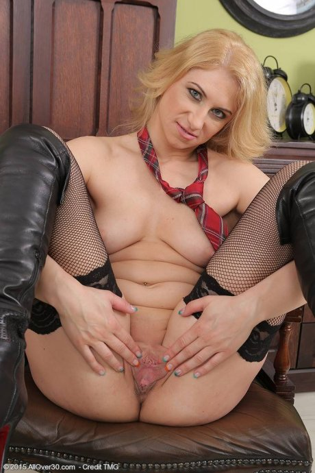 Blonde Starlet in black stockings spreads at AllOver30