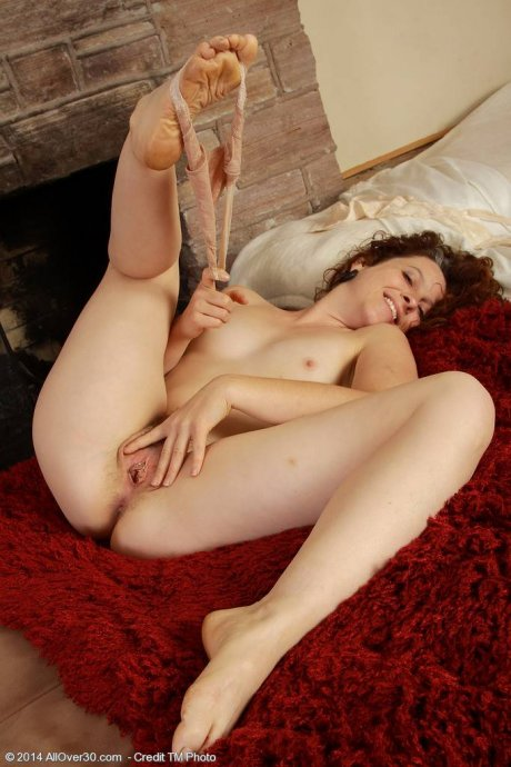 Hot Fiona slips out of her white lingerie at AllOver30