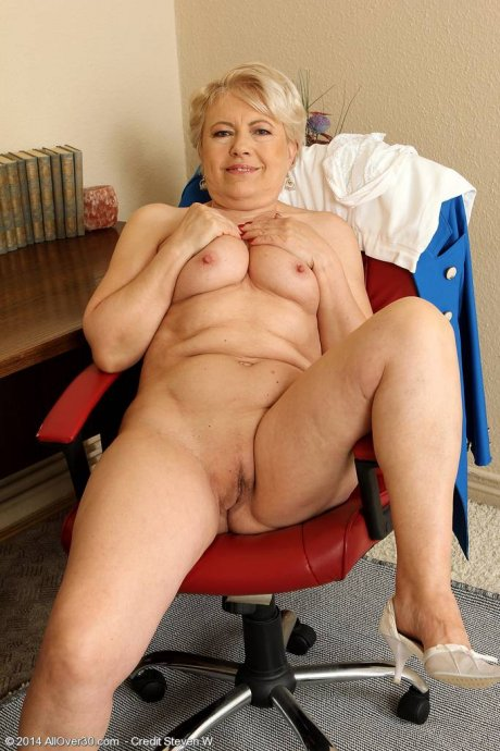 Blonde granny Mimi playing with herself at AllOver30