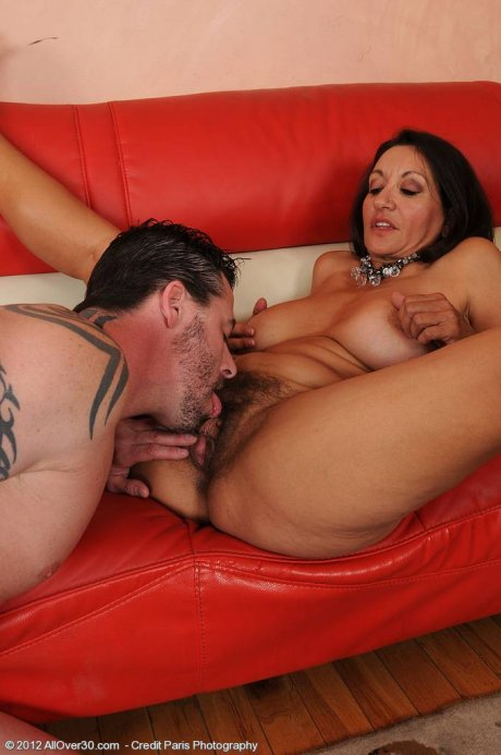 53 year old pornstar Persia slide her hairy pussy over rock hard cock at AllOver30