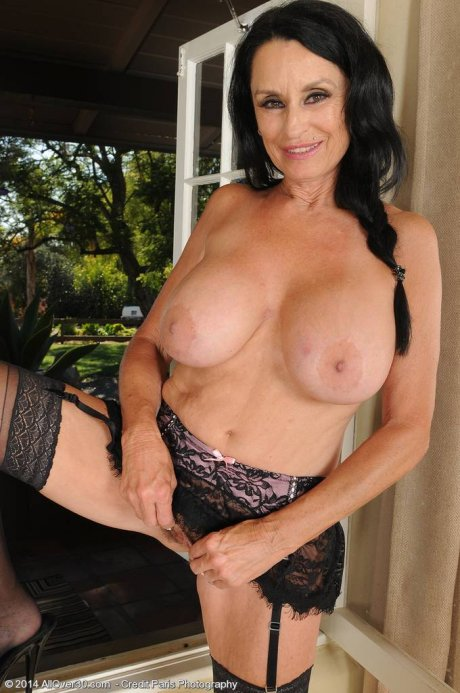63 year old brunette Rita Daniels spreads her mature ass in stockings at AllOver30