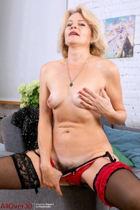 Horny blonde mature Diana V see thru lingerie at AllOver30