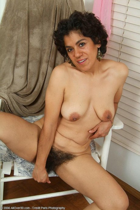 Wicked hairy bush on this 44 year old brunette housewife. at AllOver30