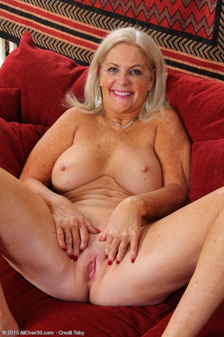 Blonde 58 year old Judy Mayflower enjoying her toy at AllOver30