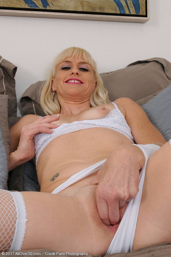 Blonde Mature Housewife Angelique H Sexy In White Panties At Allover30