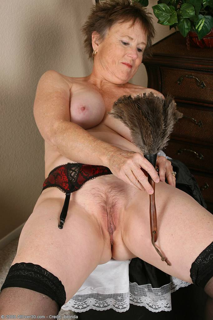 Brunette granny playing with herself at AllOver30