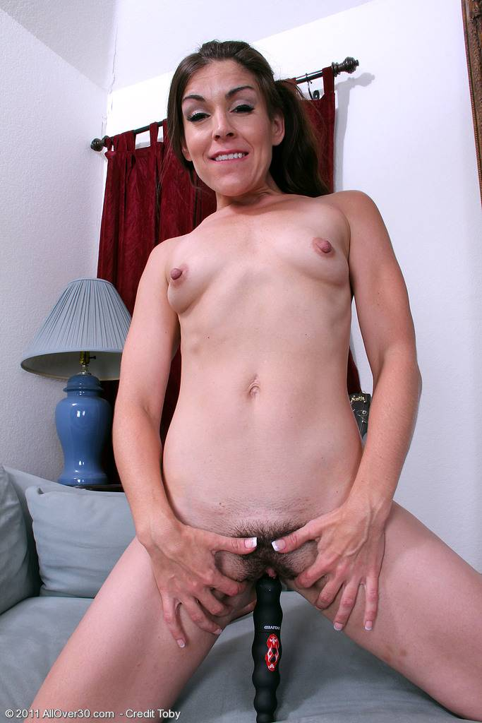 Annabelle Genovisi Has Fun And Toys Her Hairy Pussy While On The Couch At Allover30