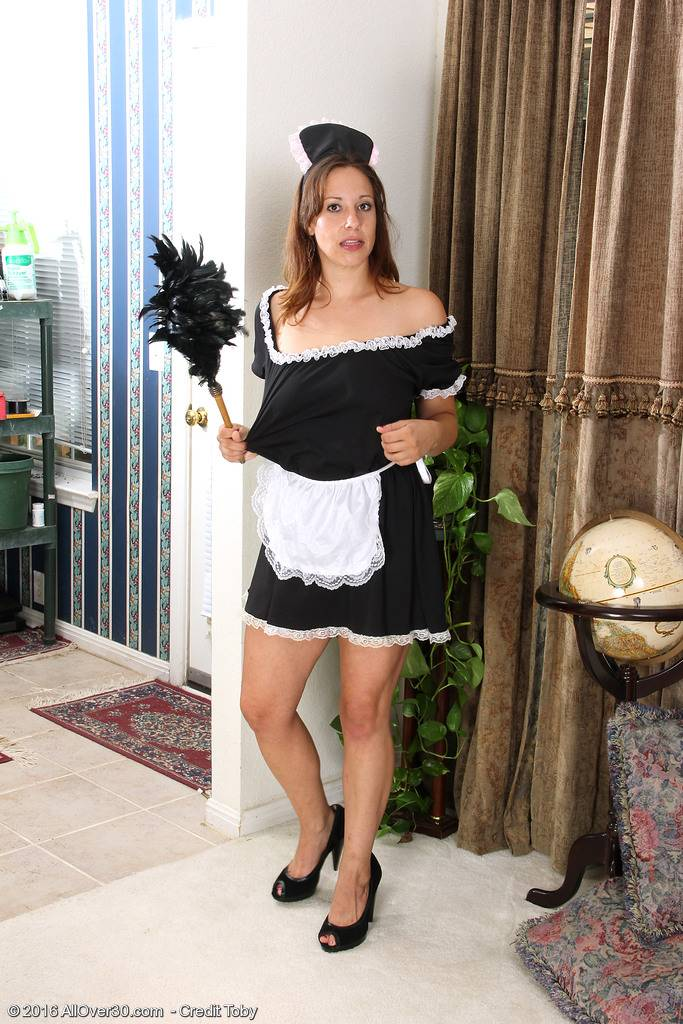 Horny Maid Cassandra Johnson Dusts And Strips At Allover30