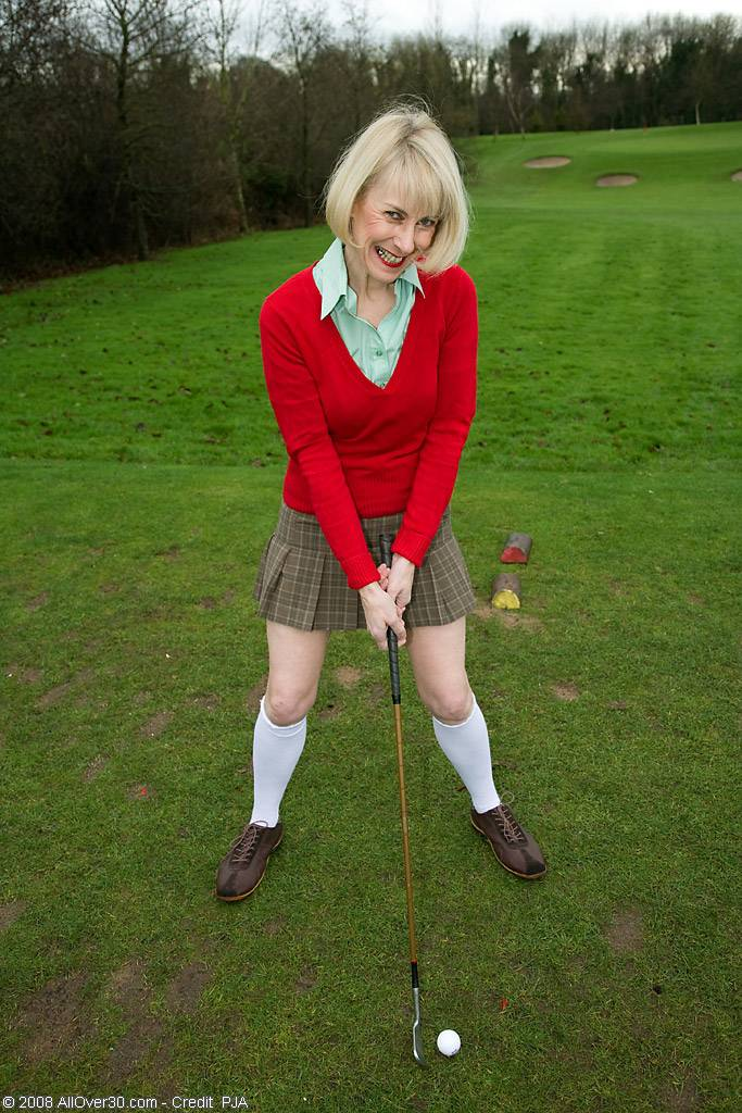 52 Year Old Hazed Spreads Her Hairy Pussy After A Round Of Golf At Allover30