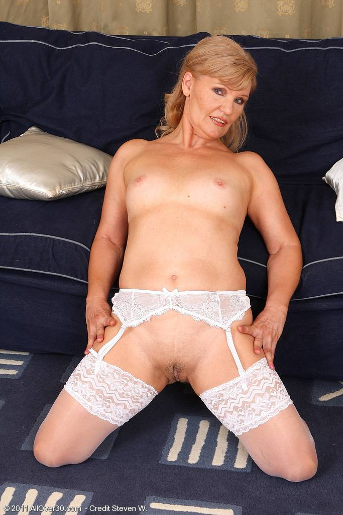 Lena F In White Lace Spreads Her 57 Year Old Pussy For The Camera At Allover30
