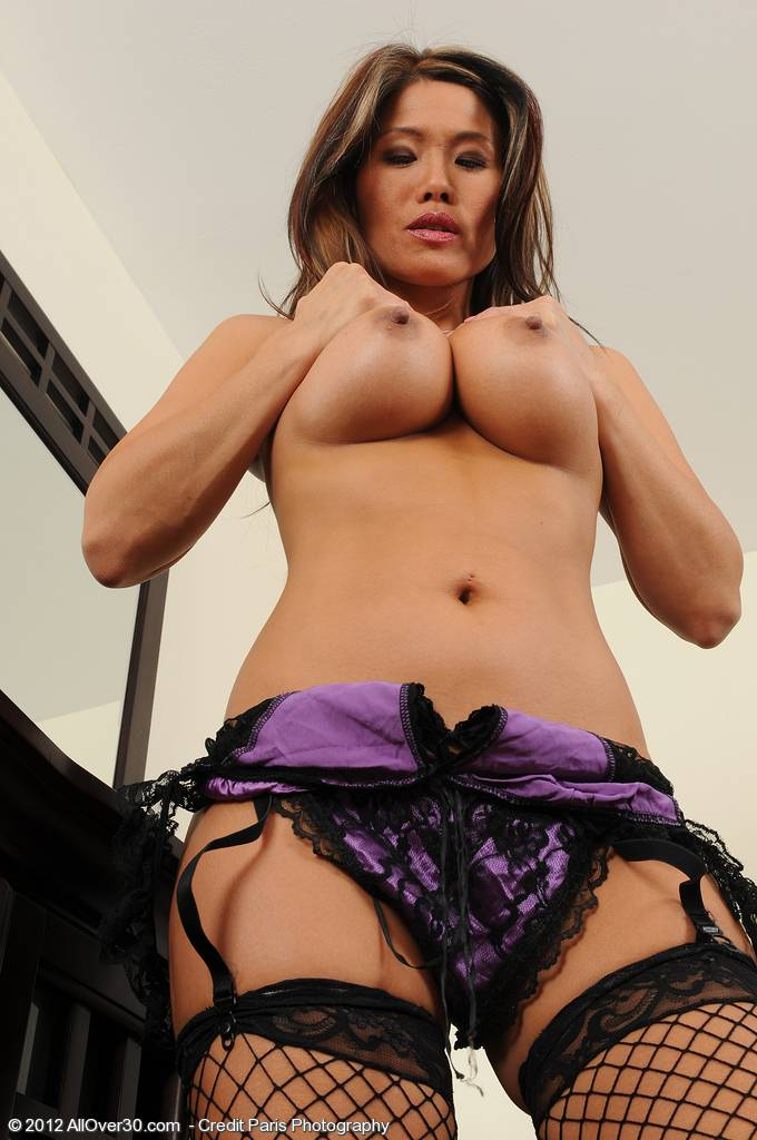 Exotic Milf Trisha Spread Her Mature Silky Legs Clad In Black Fishnets At Allover30